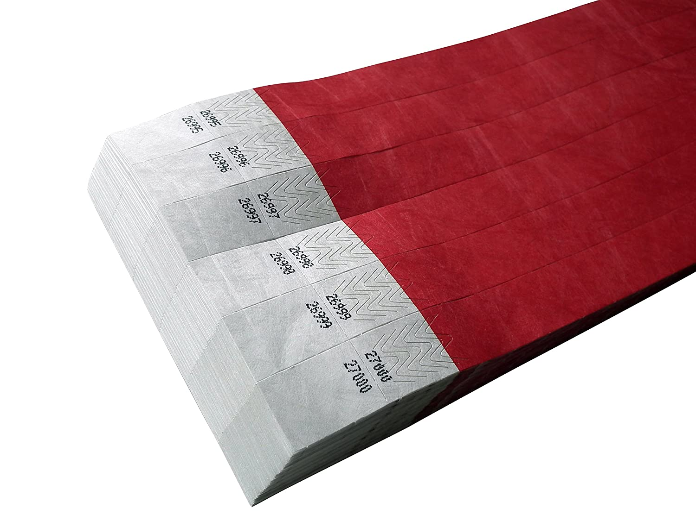 100pezzi Tyvek nastri con coupon coupon per tombolas–Doppia Numerazione. (Rosso, 19X 255mm) ID-ACC.