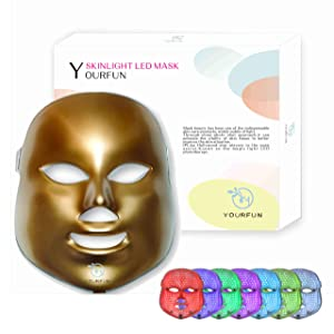 7 Color LED Mask Photon Light Skin Rejuvenation Therapy Facial Skin Care Mask without Neck Part(gold)