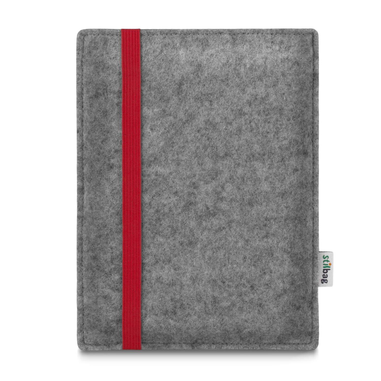 stilbag Leon /Étui pour liseuse  Kindle Oasis 9 G/én/ération /élastique Rouge Feutrine Gris Clair