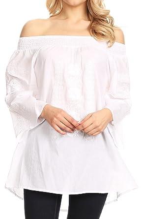 21292efe3cdbb Sakkas 2692 - Kaja Womens Peasant Off Shoulder Cotton   Embroidery Blouse  Top Relax Fit -