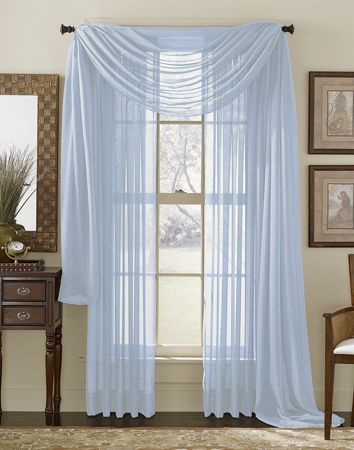 amazoncom light blue 216 sheer window scarf home kitchen - Blue And White Window Curtains