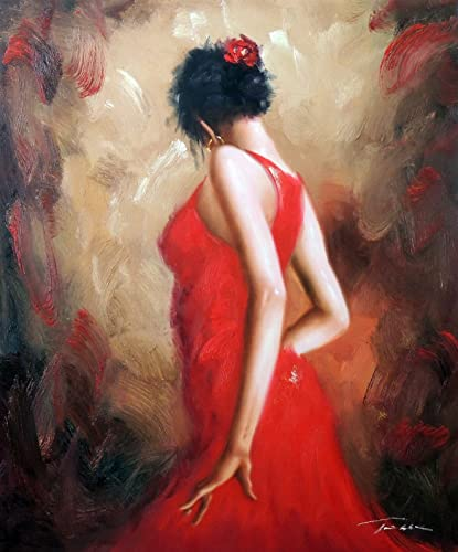 100 Hand Painted Spanish Dancer Flamenco Tango Brunette Red Dress Flower Canvas Oil Painting for Home Wall Art by Well Known Artist, Framed, Ready to Hang