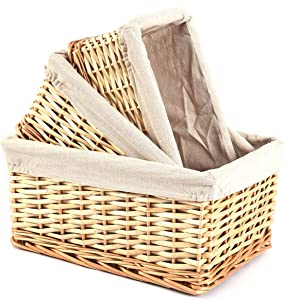 Trebisky Wicker Basket with Cello Wrap, Complete DIY Gift Set include Heat Shrink Cellophane Bags and Ribbons, Empty Basket for Wine, Storage, Food, Easter, Christmas, Birthday (Set of 3,Natural)