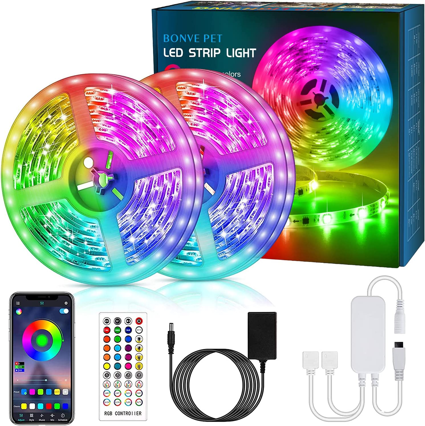 LED Strip Lights 65.6ft, 5050 RGB LED Light Strips with 40 Keys Remote and APP Control, Music Sync, Color Changing Lights for Bedroom, Room, Kitchen, Home Decoration