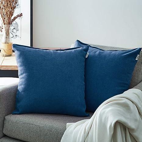 Topfinel juego 2 Fundas cojines sofas de Algodón Lino duradero Almohadas Decorativa de color sólido Para Sala de Estar, sofás, camas, sillas 45x45cm ...