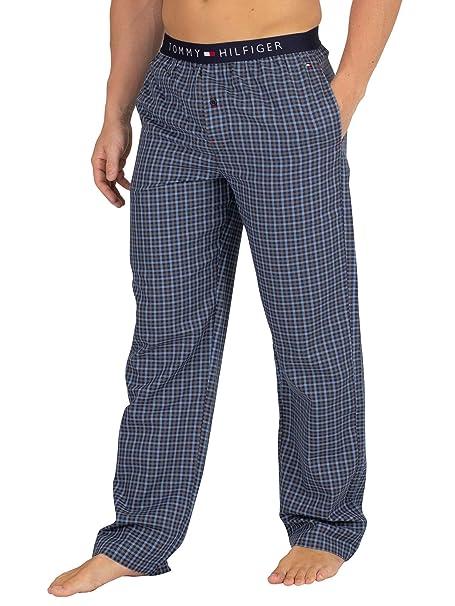 Tommy Hilfiger Woven Pant Gingham, Pantalones de Pijama para Hombre, Rosa (Blue Heaven