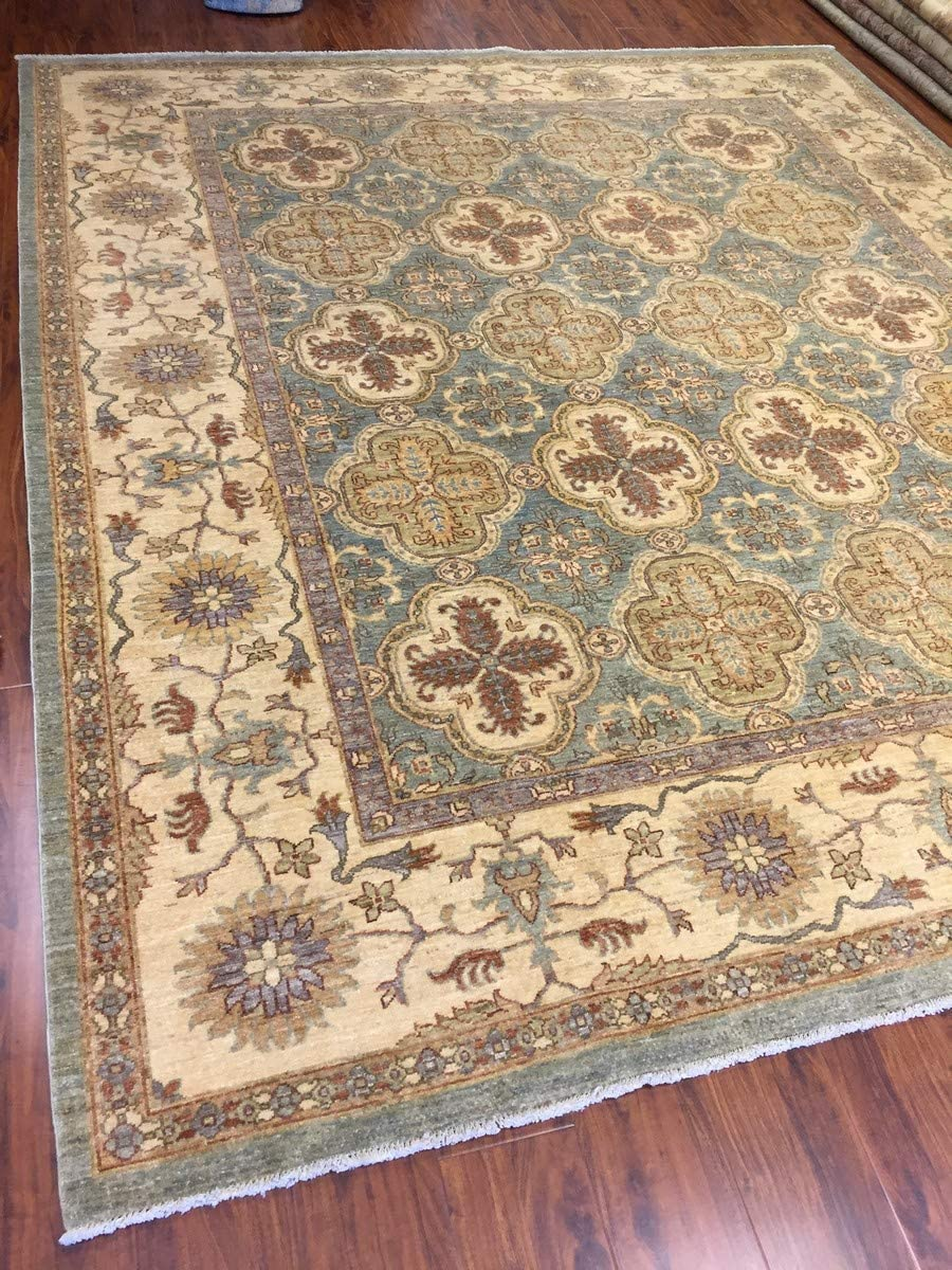 Hand Knotted Pakistani Rug Ziegler Green Beige Multi 8 3 By 9 7 Feet Furniture Decor