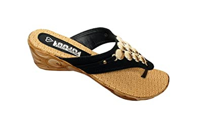 f90fb4a98 ENKE Black   Golden Colored Nylon Party Wear Sandal For Women  Buy ...