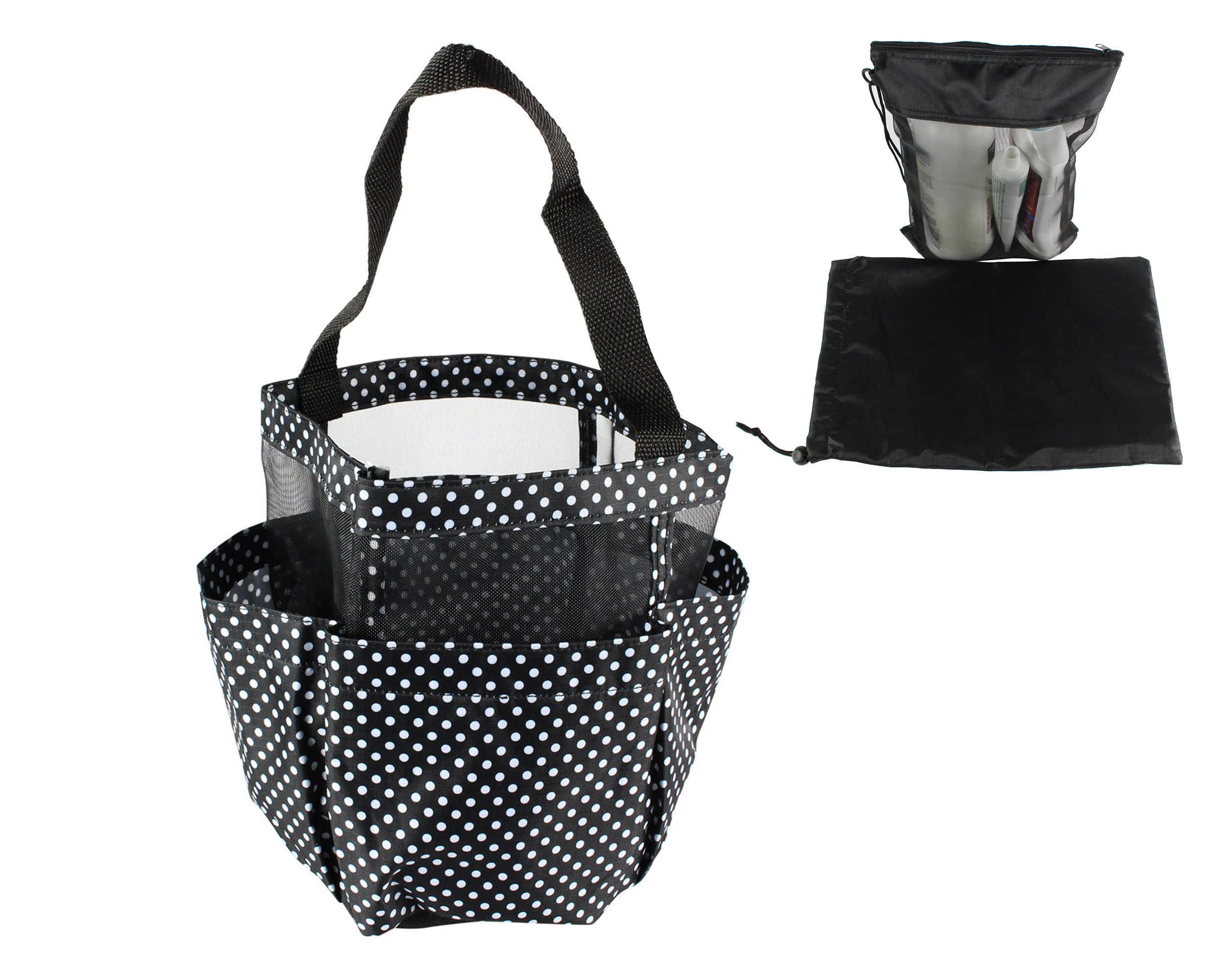 Cherlex Shower Caddy Portable Mesh Tote -Quick Dry Hanging Bath and Toiletry Storage Organizer for College Dorms, Gyms and Travel-Includes Bonus Travel Mesh Tote with Carrying Bag (Black White Dotted)