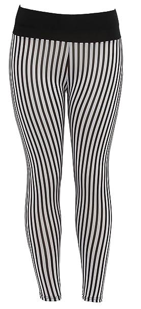 8869dff850046 Mod Vertinal Lines Ladies Leggings Shear Tights Black/White at ...