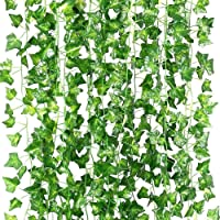Artificial Ivy Garland, TERSELY 12 Strands (79 Feet) Artificial Ivy Garland Foliage Green Leaves Fake Hanging Vine Plant…