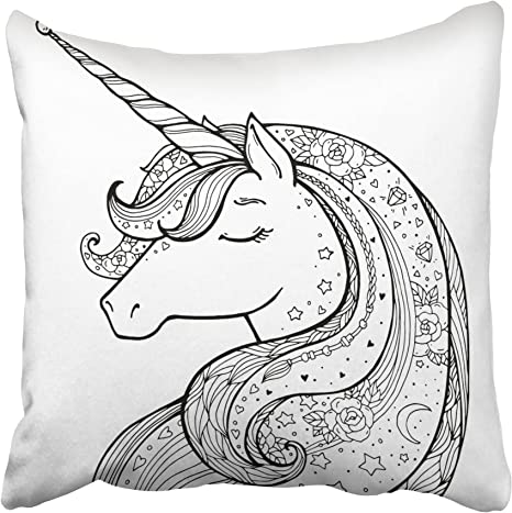 Amazon.com: Emvency Decorative Throw Pillow Covers Cases Unicorn Magical  Animal Black And White Coloring Book Pages For Adults And Kids Funny  Character 20X20 Inches Pillowcases Case Cover Cushion Two Sided: Home &