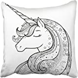 Emvency Decorative Throw Pillow Covers Cases Unicorn Magical Animal Black and White Coloring Book Pages for Adults and Kids Funny Character 20X20 Inches Pillowcases Case Cover Cushion Two Sided