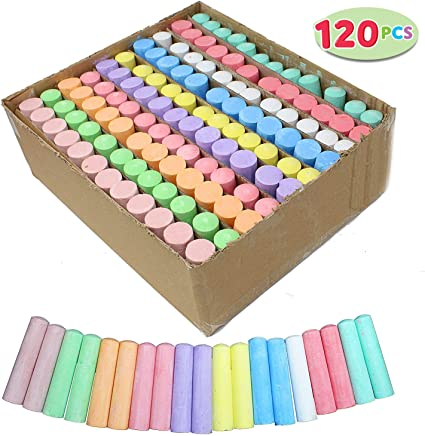 Assorted 12 Gaint Chalks For Kids//Nontoxic Coloured Chalk Box White Chalk
