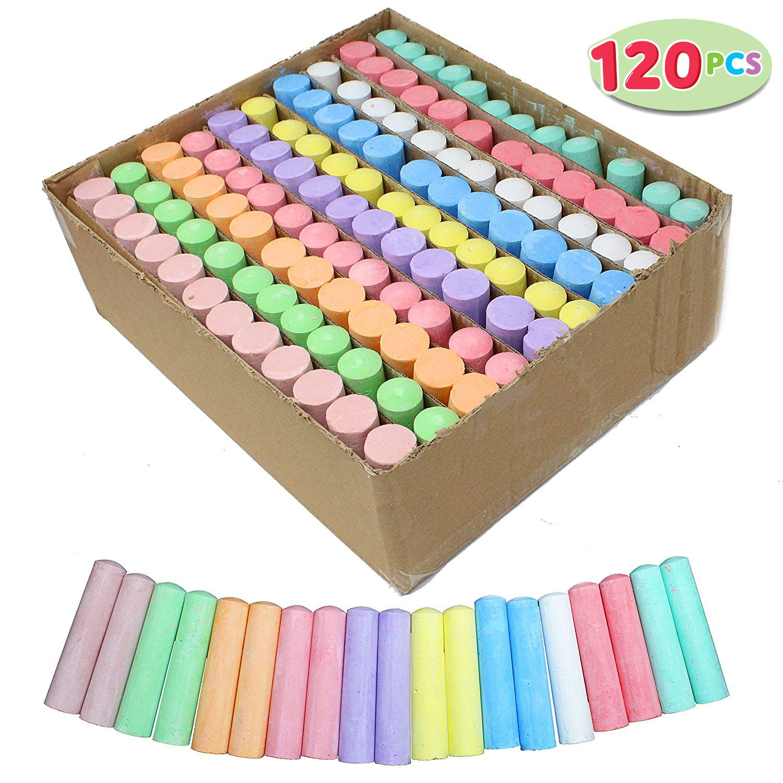 Joyin 120 Pack Giant Box Non-toxic Jumbo Washable Sidewalk Chalk Set in 10 Colors (120 Pieces) by JOYIN