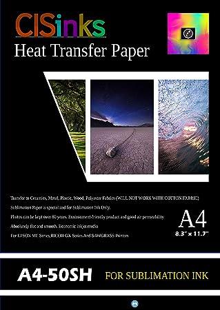 "61ccdda2c CISinksTM A4 Sublimation Ink Transfer Paper Heat Press (50 sheets) For  Inkjet Printer 8.25"""