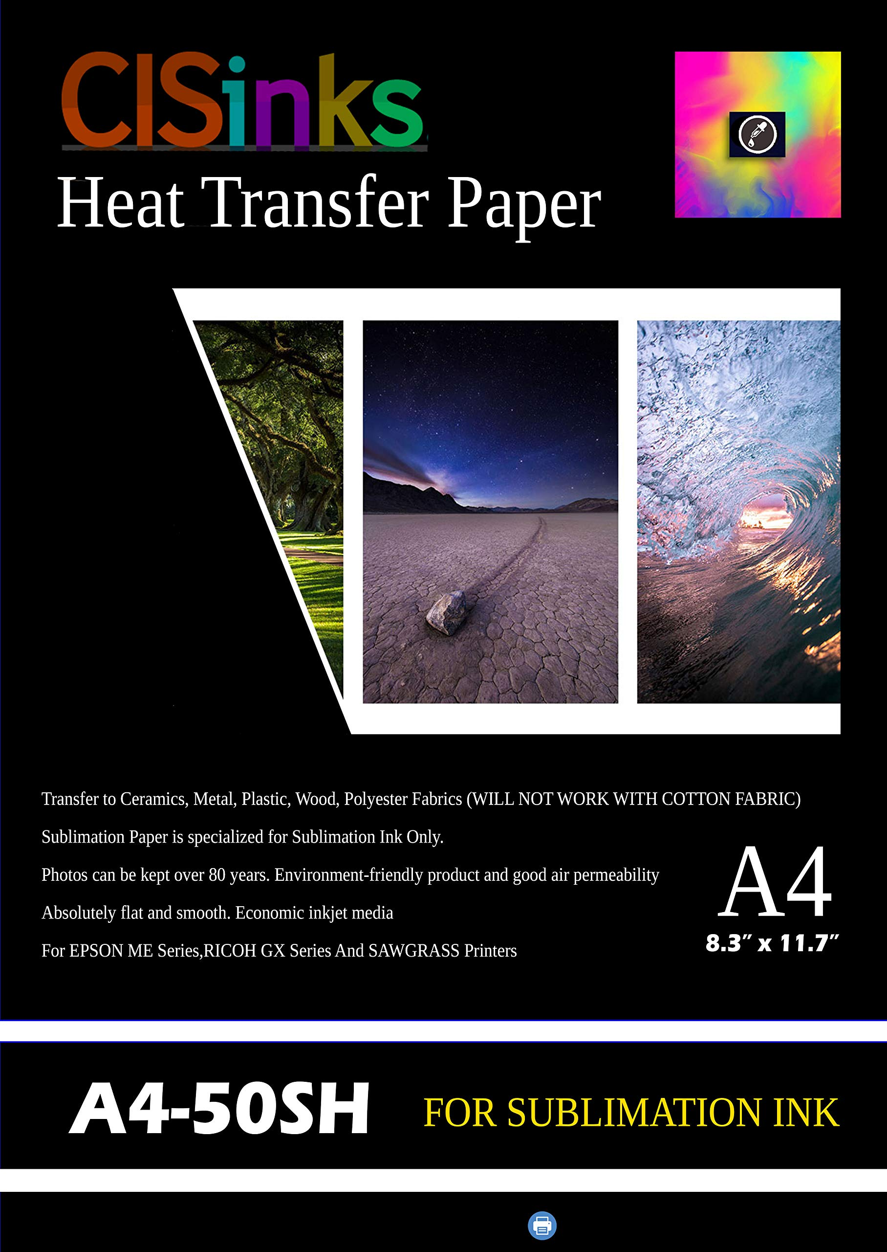"""CISinks A4 Sublimation Ink Transfer Paper (50 Sheets) 8.27"""" x 11.7"""" for EPSON ME Series RICOH GX Series and SAWGRASS Printers"""