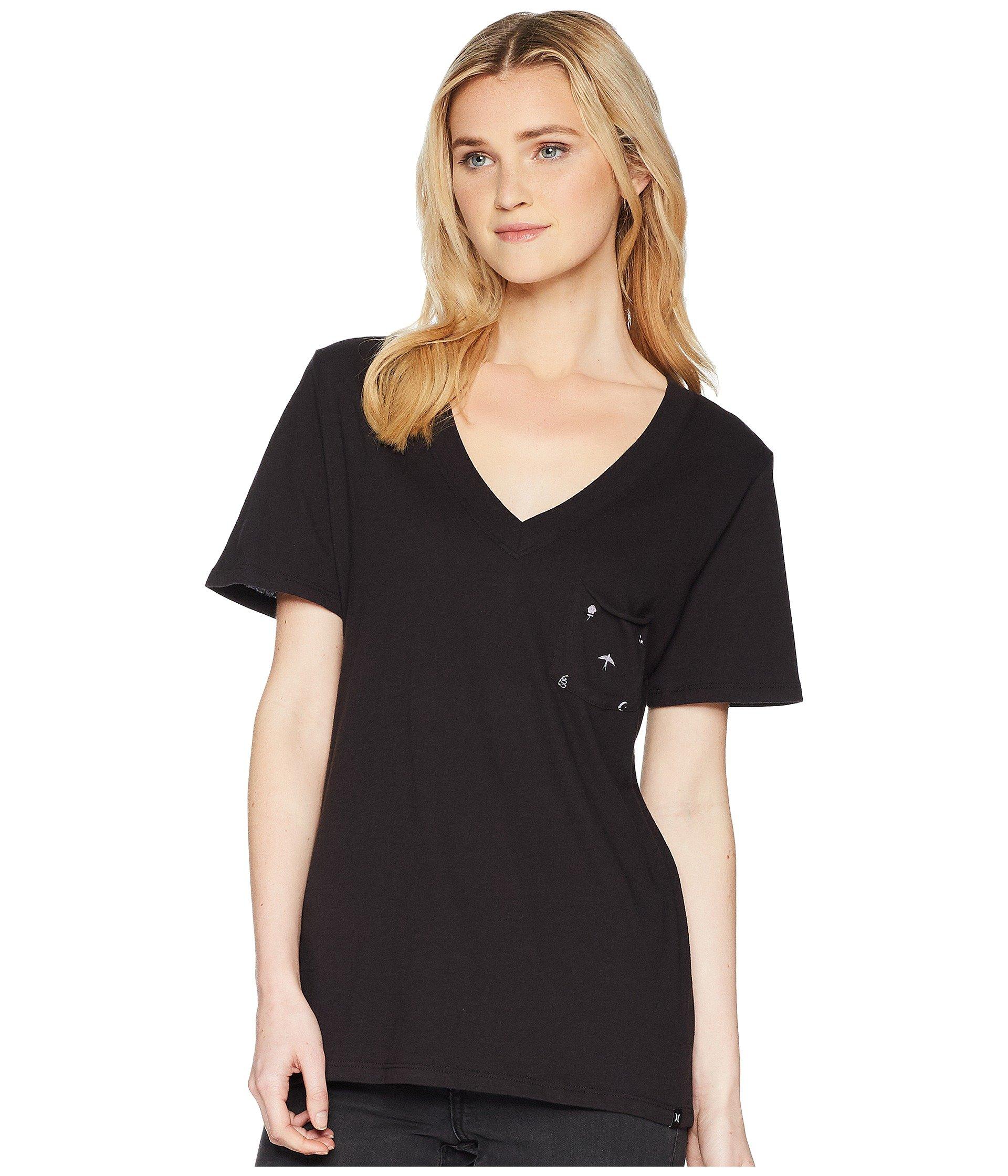 Hurley Women's Hallow Perfect Short Sleeve V Tee Black X-Large