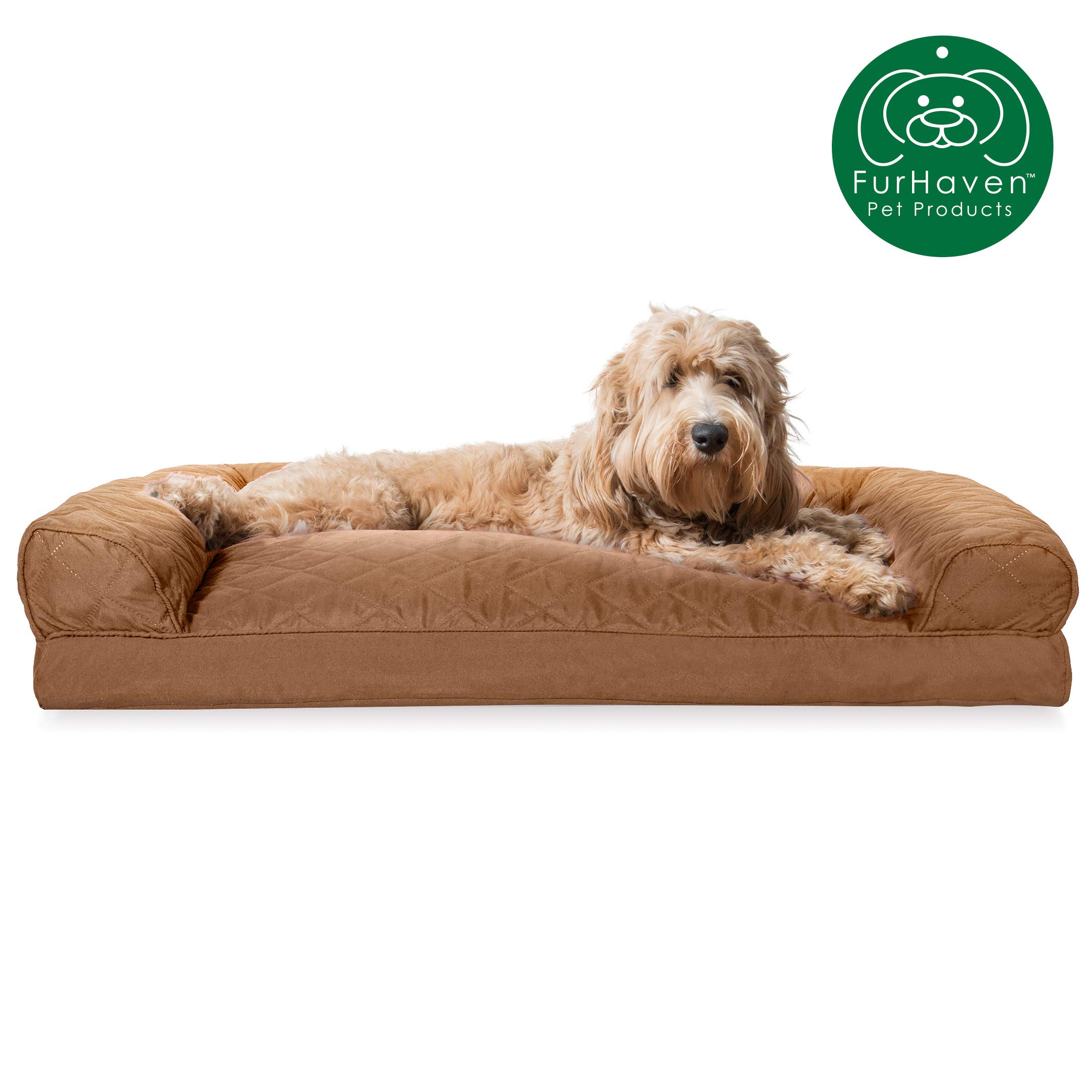 Furhaven Pet Dog Bed | Quilted Pillow Cushion Traditional Sofa-Style Living Room Couch Pet Bed w/ Removable Cover for Dogs & Cats, Toasted Brown, Large by Furhaven