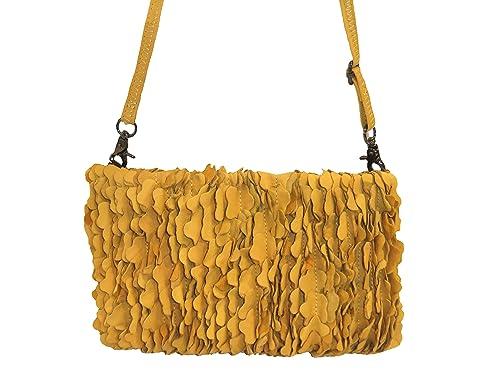 Abbacino - Cartera de mano de cuero para mujer amarillo: Amazon.es: Zapatos y complementos