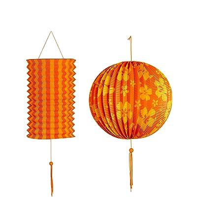 2 Lanternes oranges et jaunes - taille - Taille Unique - 231172