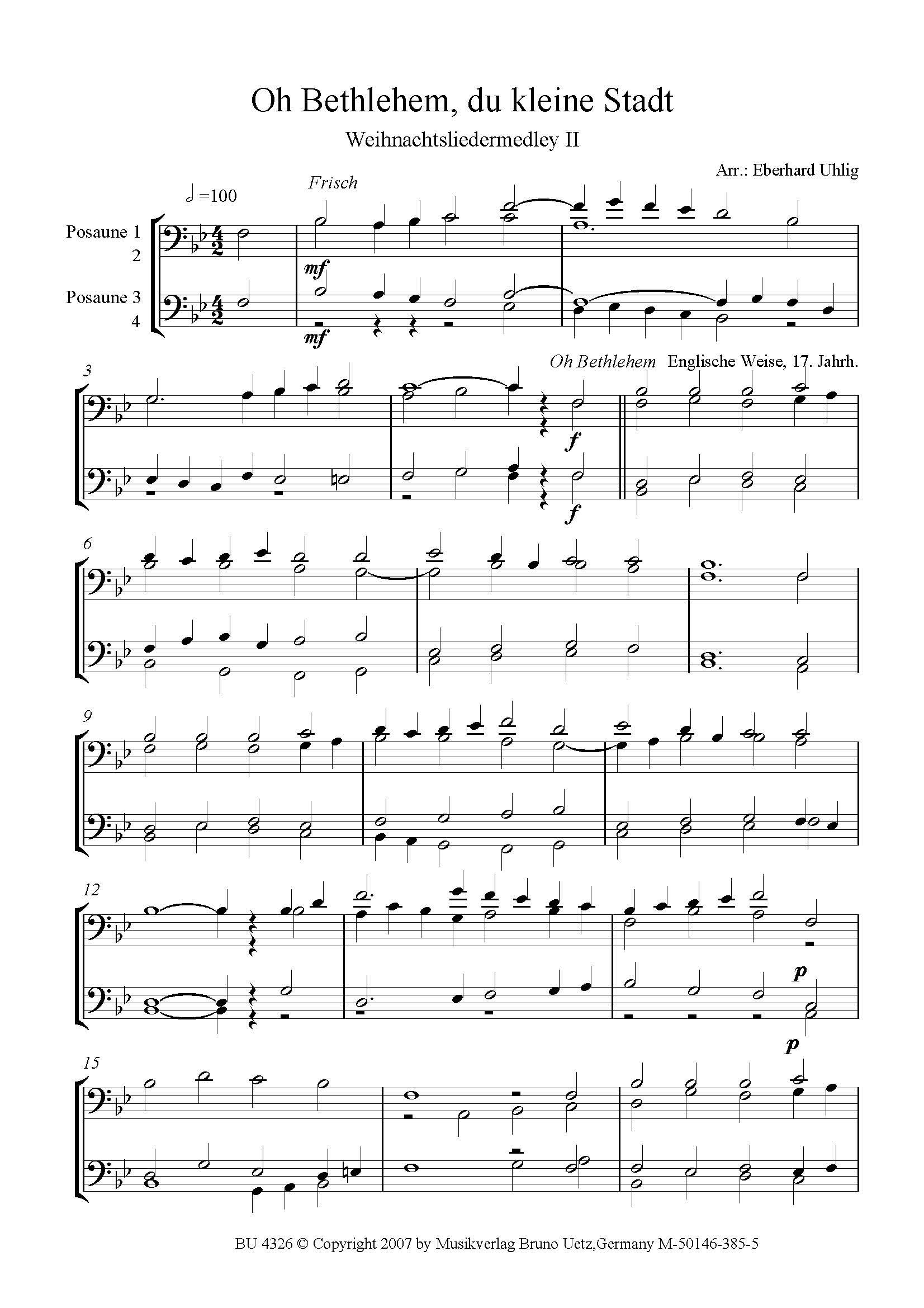 Weihnachtslieder Medley II. Oh Bethlehem, du kleine Stadt. Für ...