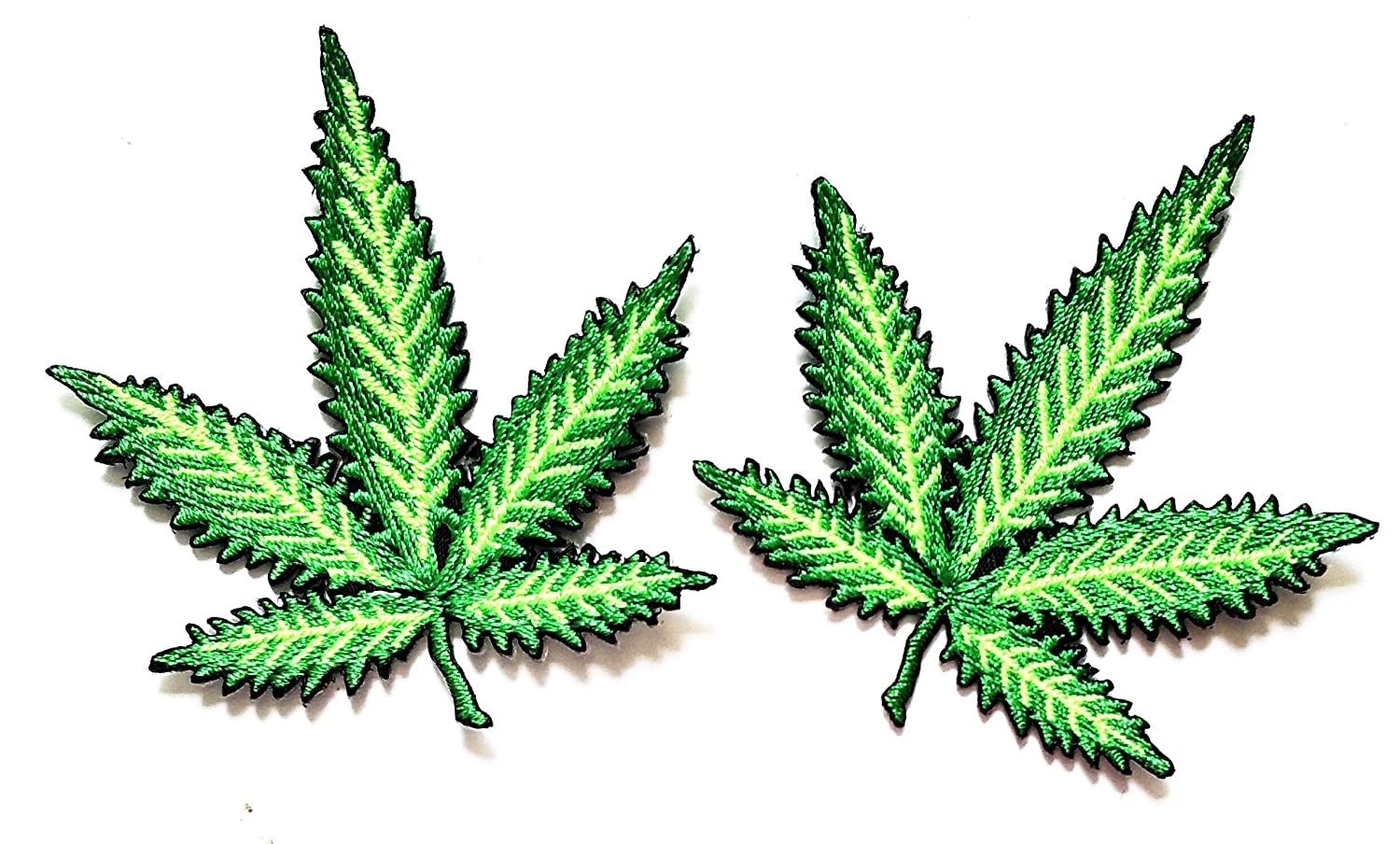 Nipitshop Patches Set Green Marijuana Leaf Pot Weed Grass Ganja Art Patch Embroidered Iron On Patch for Clothes Backpacks T-Shirt Jeans Skirt Vests Scarf Hat Bag