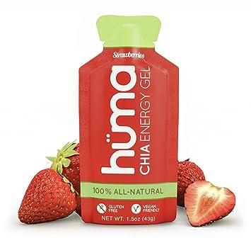 Huma Chia Energy Gel, Fresa, 12 Paquetes - Geles Energéticos, Nutrición Deportiva