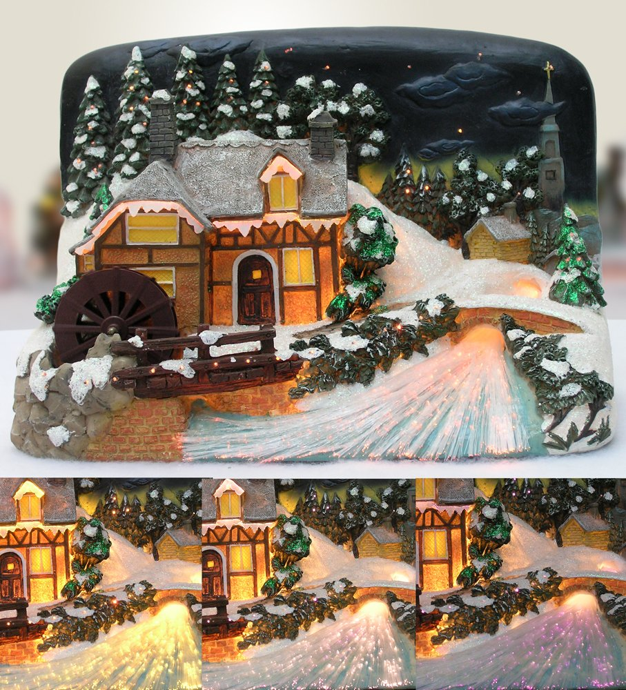 Northern Lights LED Christmas Village House with Sawmill Fiber Optic Color Changing