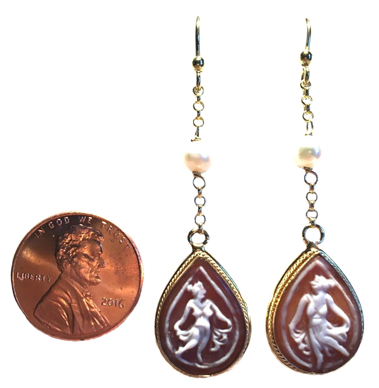 91f507a52 Amazon.com: Ballerina Teardrop Cameo Earrings French Wire Shell Fresh Water  Pearls Sterling Silver 18k Gold Overlay: Dangle Earrings: Jewelry
