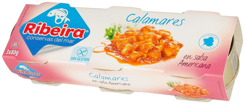 Ribeira - Conserva de Pescado Calamares en Salsa Americana - 3 x 80 gr. (pack de 10 unidades, total 2400 gr.): Amazon.es: Alimentación y bebidas