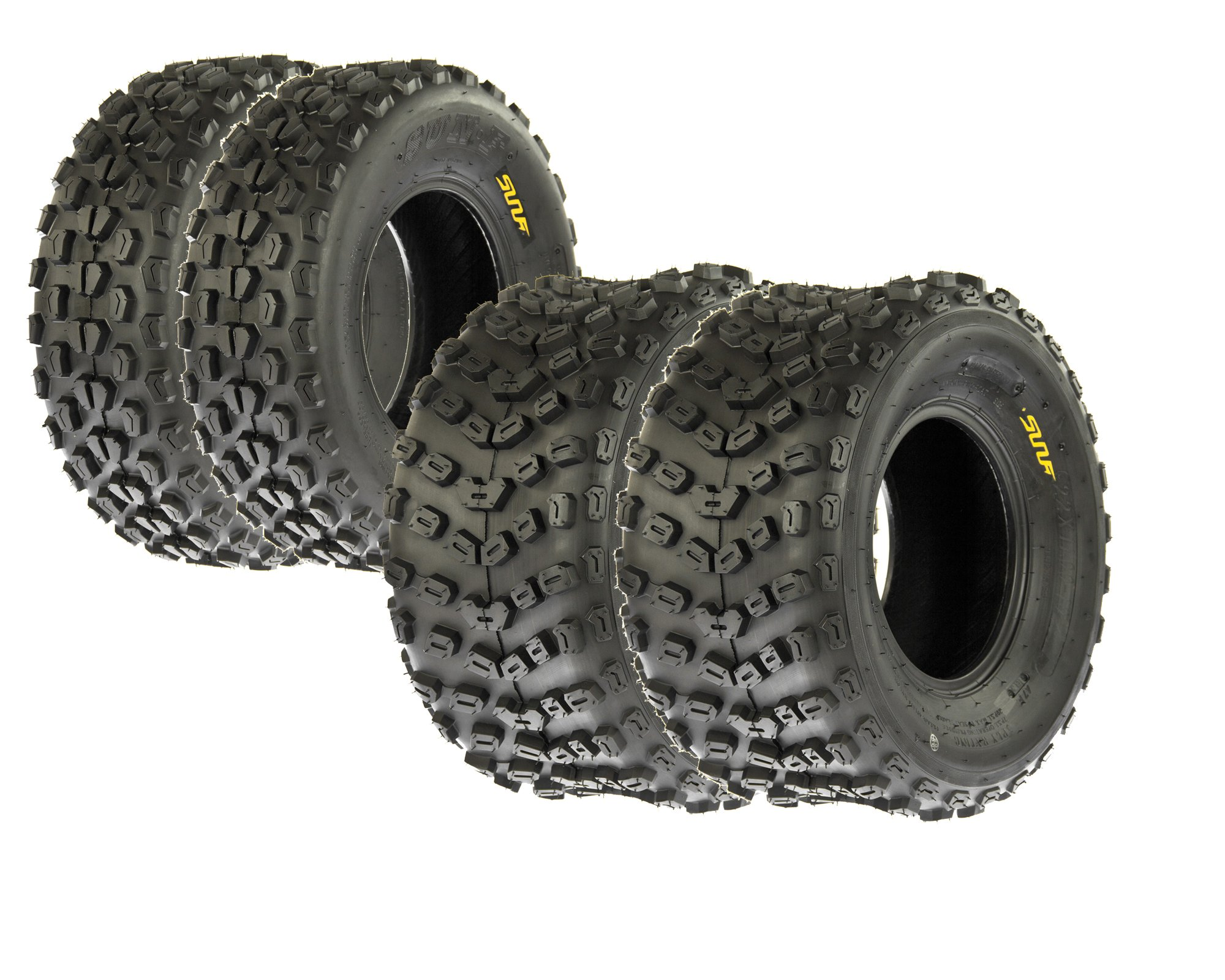 SunF Full Set Sport ATV Tubeless Tires 22x7-10 A017 Front & 22x11-10 A005 Rear, 4 Ply