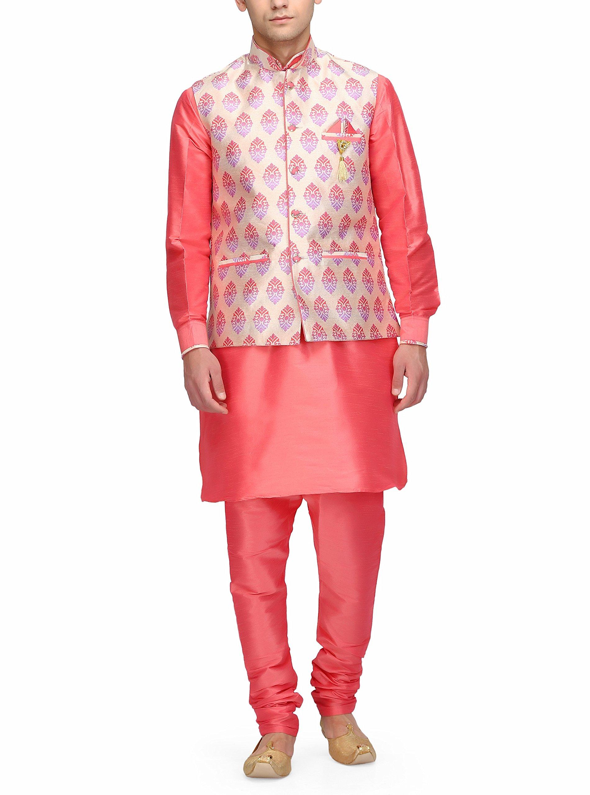 Ahhaaaa Mens Wthnic Silk Blend Kurta And Churidar With Cotton Silk Nehru Jacket for Men's by ahhaaaa