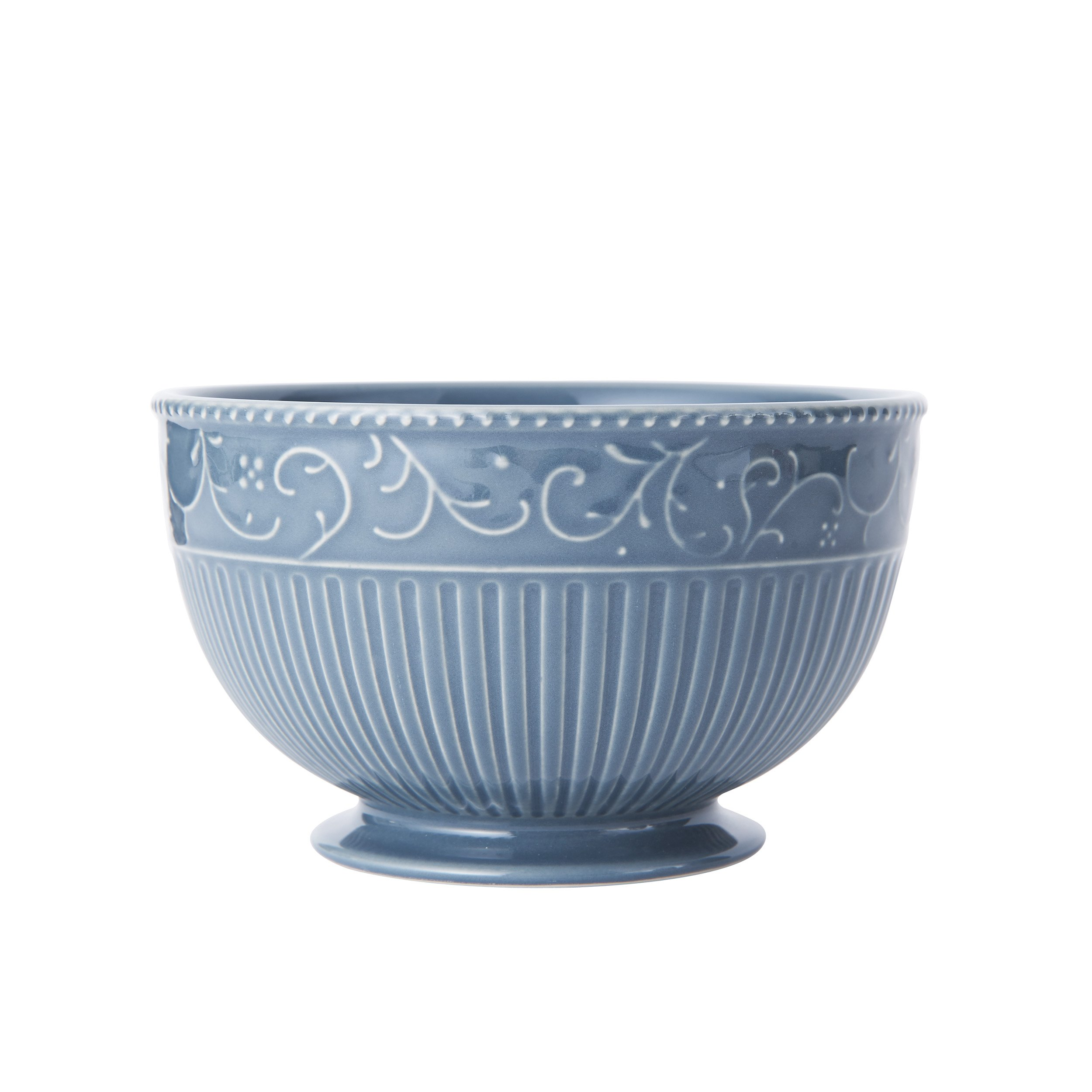 Mikasa Italian Countryside Accents Footed Soup/Cereal Bowl, Scroll Blue
