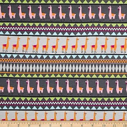 Amazon Springs Creative Products Jersey Knit Llama Stripe Gray