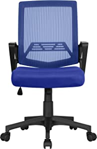 Yaheetech Ergonomic Office Chair Mid-Back Mesh Desk Chair Height Adjustable Computer Chair w/ 360° Rolling Casters and Armrests