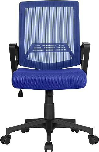 Topeakmart Blue Mesh Office Desk Chair Swivel Chair Computer Chair