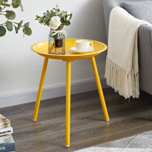 EKNITEY Round End Table, Metal Side Table, Small Coffee Table, Nightstand for Living Room, Bedroom, Office, Easy Assembly (Yellow)