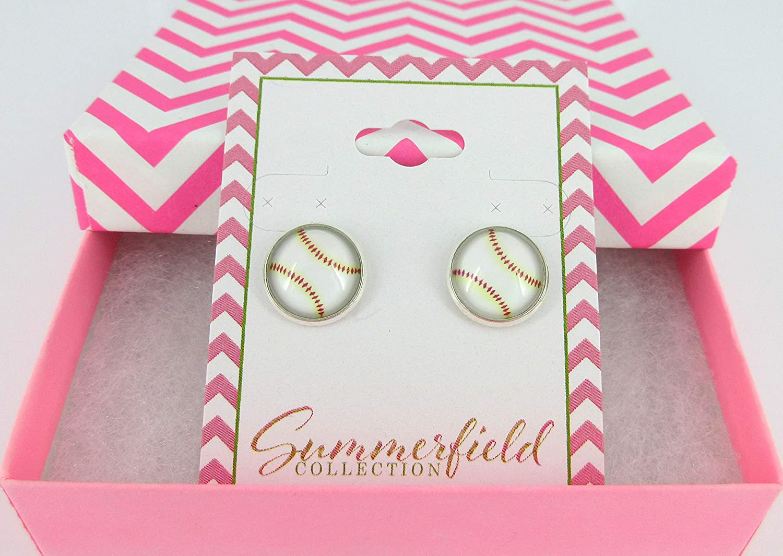 Silver-tone Baseball Print Glass Stud Earrings 12mm