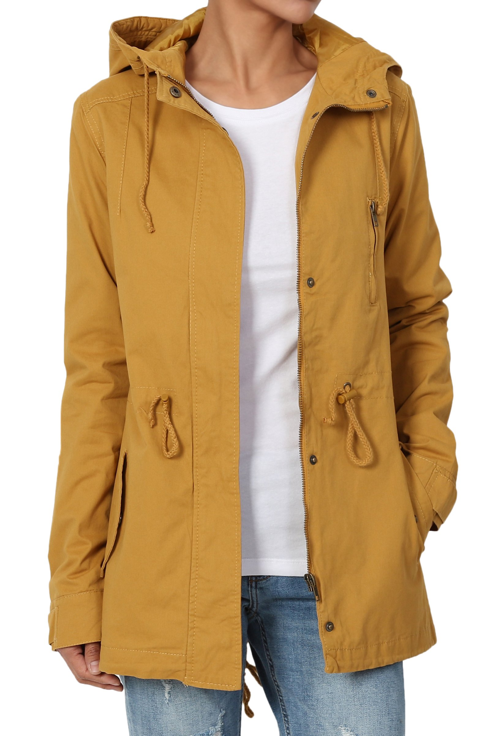 TheMogan Junior's Washed Twill Hooded Utility Anorak Jacket Mustard M by TheMogan (Image #1)