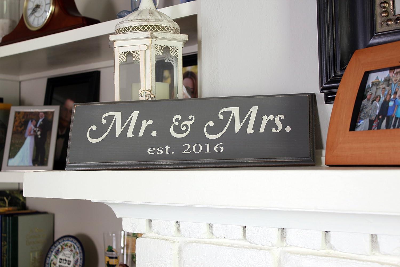 Mr /& Mrs Est Local Artist Black - Large - Cursive BEST WEDDING ANNIVERSARY GIFT IDEAS!!! 2016 Vintage Wood Sign Wall Decor
