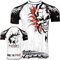 Tigon Sports MMA Rashguard de Compression Couche de Base à Manches Courtes pour Homme Blanc