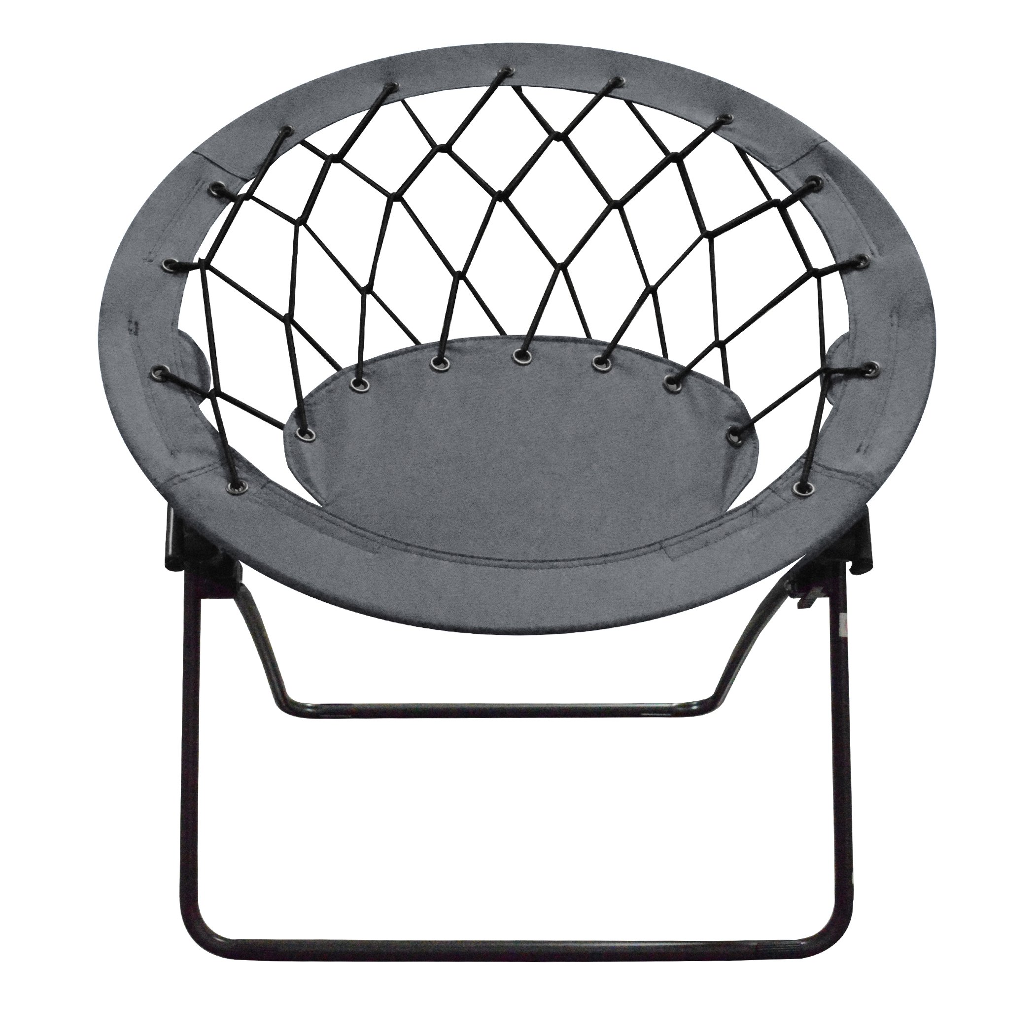 Impact Canopy Web Round Bungee Chair, Lightweight Portable Folding Chair, Grey