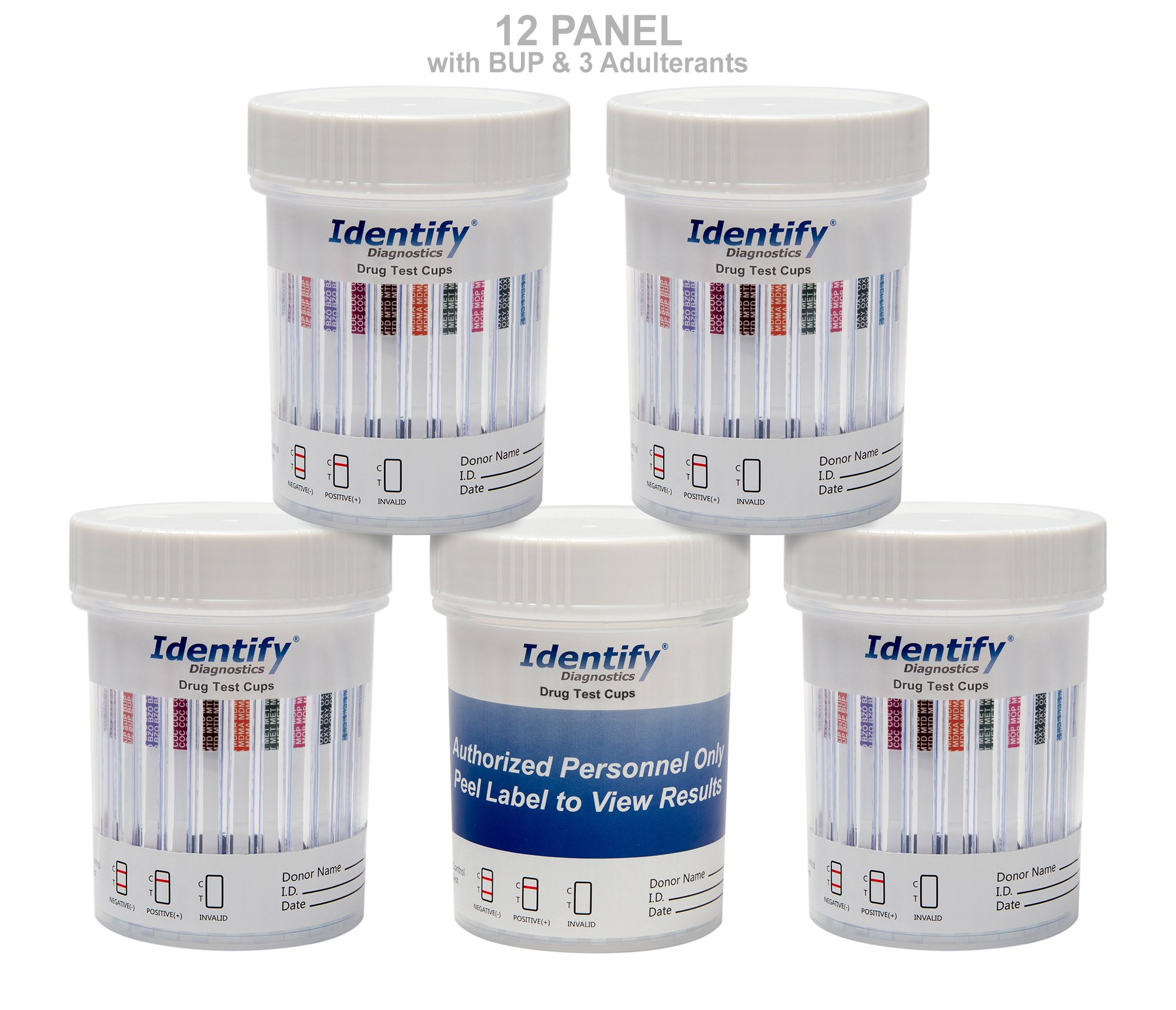 5 Pack Identify Diagnostics 12 Panel Drug Test Cup with 3 Adulterants PH, SG, CR - Testing Instantly for 12 Drugs: THC, COC, OXY, MDMA, BUP, MOP, AMP, BAR, BZO, MET, MTD, PCP #ID-CP12-BUP-ADULT