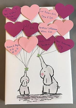 Elefant Leinwand Herzen Ideales Geschenk Gästebuch Erinnerung Deko Idee Andenken Zur Geburt Taufe Babyparty Baby Shower In Rosa Für Mädchen