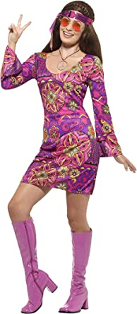 Smiffys Hippie Chick Adult Costume Purple