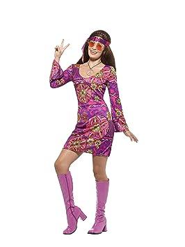 Smiffys-45519S Disfraz de Chica Hippy, con Vestido, pañuelo para ...