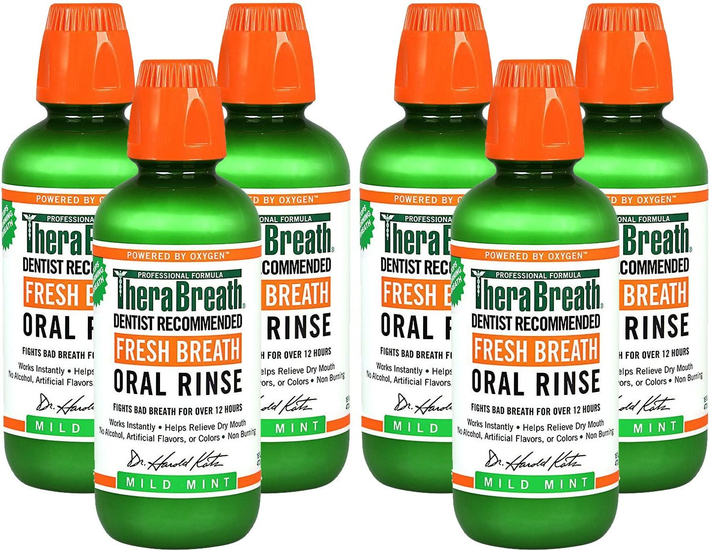 TheraBreath Dentist Recommended Fresh Breath Oral Rinse - Mild Mint Flavor PlfYBc, 16 Ounce (Pack of 6)