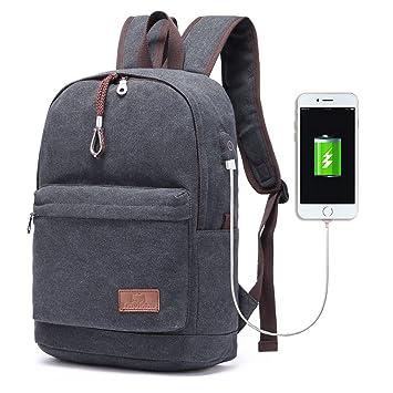 192fb5ecb9a2d Hozee Canvas Schulrucksack Schultaschen Mädchen Teenager mit USB  Ladeschluss Jugendlich Rucksäcke Daypacks Backpack für Damen Herren