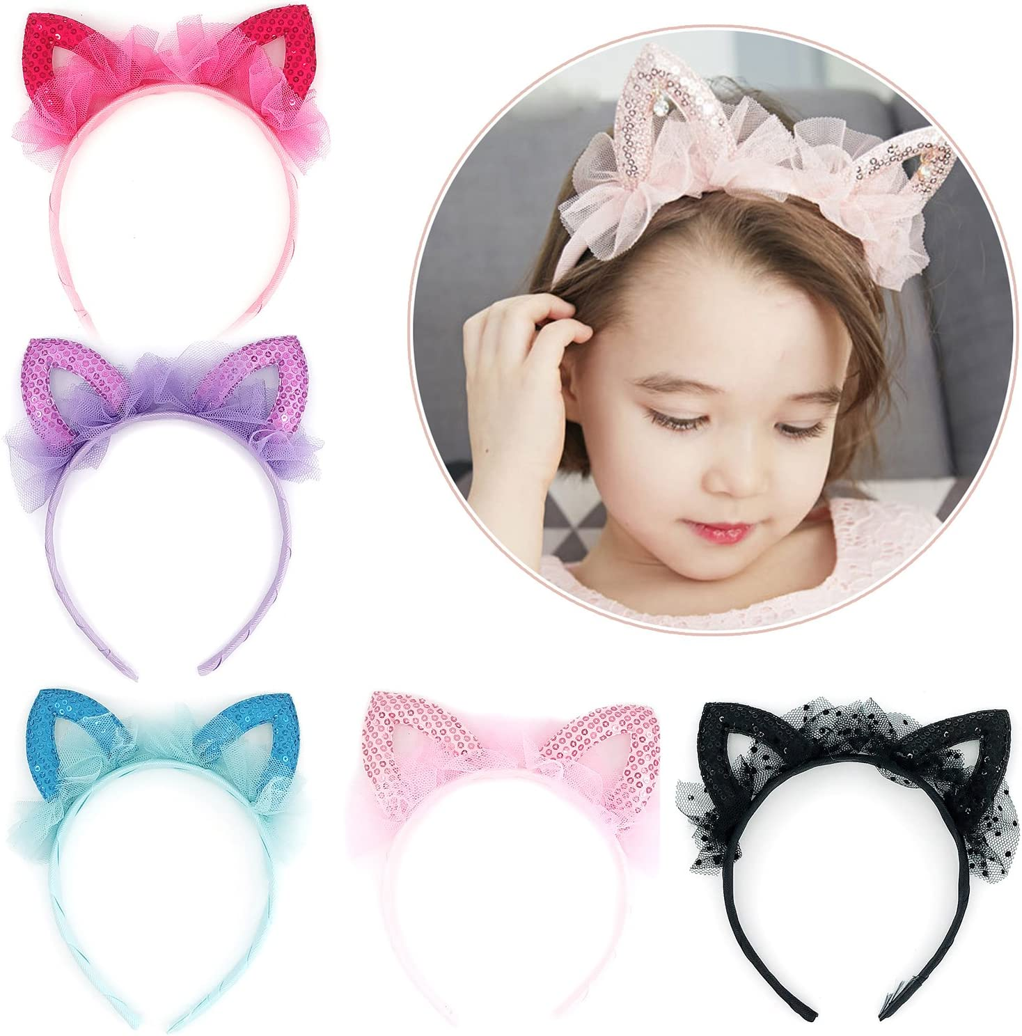 New Boutique Sequins Hairband Cat Ears Crown Hair Hoop Headbands For Girls Kids